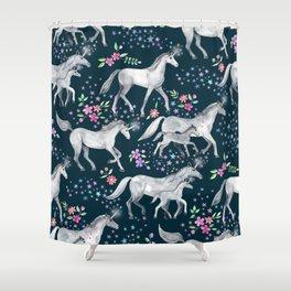 Unicorns and Stars on Dark Teal Shower Curtain