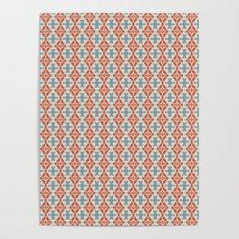 Coral Diamond Stripe Pattern Poster