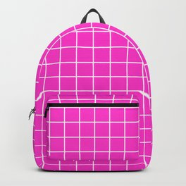 Razzle dazzle rose - pink color -  White Lines Grid Pattern Backpack