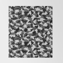 Camouflage Digital Black and White Throw Blanket