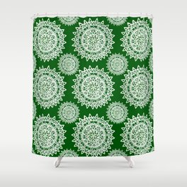 Emerald Green and Silver Patterned Mandalas Shower Curtain