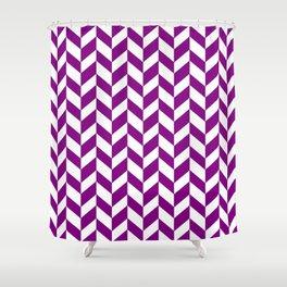HERRINGBONE (PURPLE & WHITE) Shower Curtain