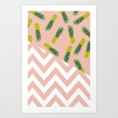 pink pineapple chevron Art Print