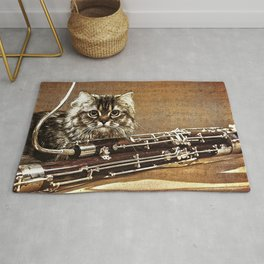 Music was my first love - cat and bassoon Rug