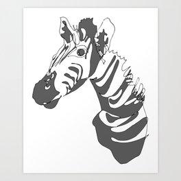 Zebra Blind Contour Art Print