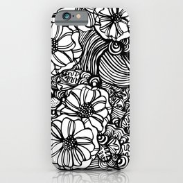 wavy inked floral iPhone Case