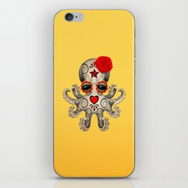 Red Day of the Dead Sugar Skull Baby Octopus iPhone Skin