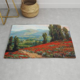 Red Poppies and Eucalyptus by Benjamin Brown Rug