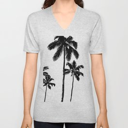 Monochrome tropical palms Unisex V-Neck