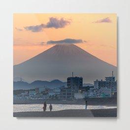 Mount Fuji Sunset from Shonan Beach, Japan Metal Print