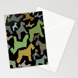 schnauzer pattern *black* Stationery Cards