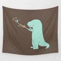 t rex Wall Tapestries featuring Selfie T-Rex by I Love Doodle