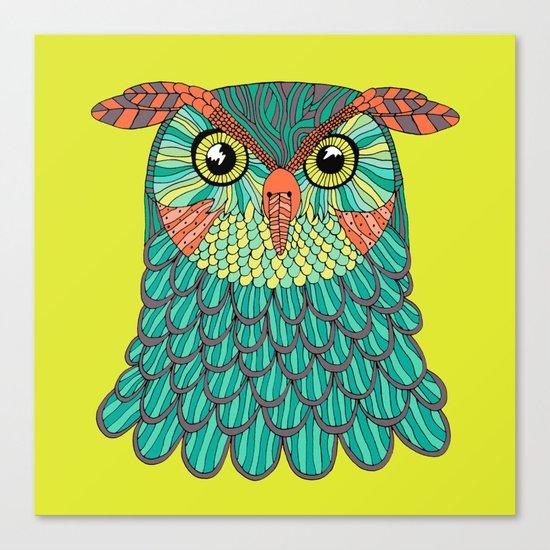 owl - Lime green Canvas Print