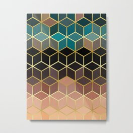 Brown squares with gold Metal Print