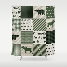 Camping hunter green plaid quilt cheater quilt baby nursery cute pattern bear moose cabin life Shower Curtain