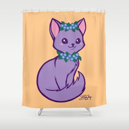 Pritty Kitty Has Forget Me Nots Shower Curtain