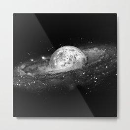 Moon and Galaxy Metal Print