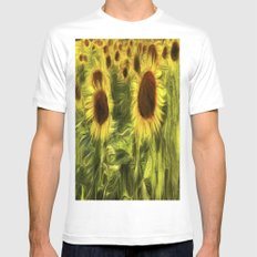 Sunflower Abstract Art Mens Fitted Tee MEDIUM White