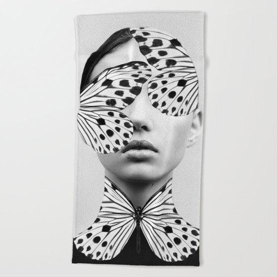 Woman Butterfly Beach Towel