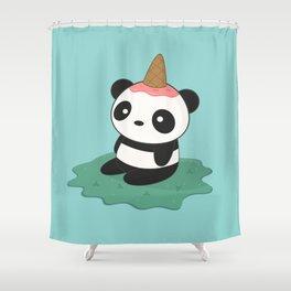 Kawaii Cute Panda Ice Cream Shower Curtain