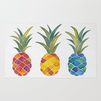pineapples Area & Throw Rugs featuring Pineapples by Cat Coquillette