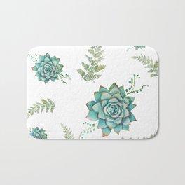 Fern and Succulent Pattern Bath Mat