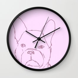 Sketched Frenchie (Pink) Wall Clock