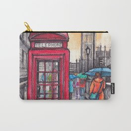 Rainy day in London ink & watercolor illustration Carry-All Pouch