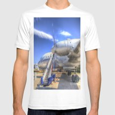 Malev Hungarian Airlines Ilyushin IL-18 Mens Fitted Tee MEDIUM White