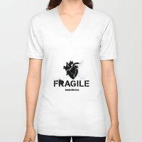 anatomical heart V-neck T-shirts featuring Fragile Anatomical Heart by J ō v