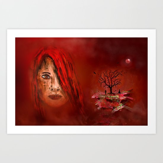 Lady in red - Island Art Print