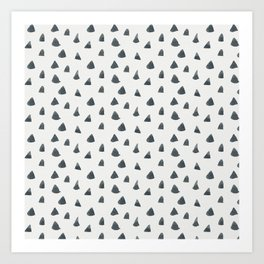 Hand painted black gray watercolor geometrical triangles Art Print