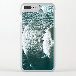 Wavy Waves on a stormy day Clear iPhone Case