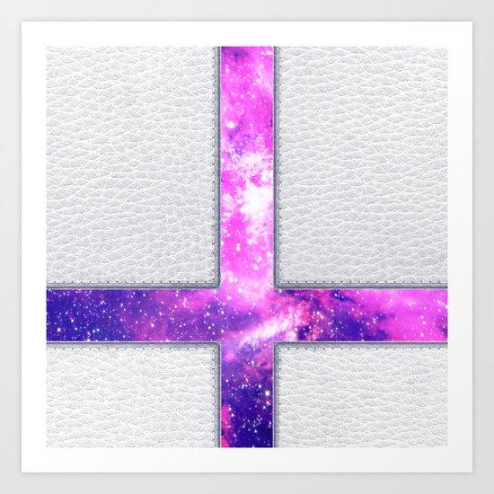 Hipster Purple Nebula Cross Modern Faux Leather Art Print