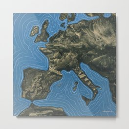 L'europe, Europe landscape painting by Óscar Domínguez; England, Spain, France, Italy, Greece, Germany, Switzerland Metal Print