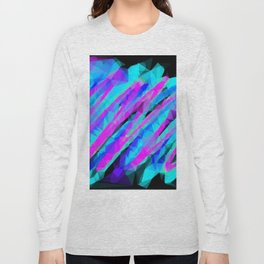 psychedelic geometric polygon abstract in pink blue with black background Long Sleeve T-shirt