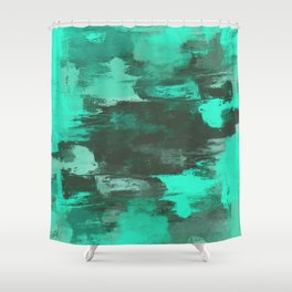 Chill Factor - Abstract cyan blue painting Shower Curtain
