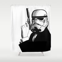 bond Shower Curtains featuring Stormtrooper Bond by FOREVER NERD