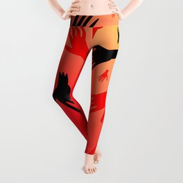 Bloody hands. The pattern of the bloody zombie hands for the Halloween holiday. Leggings