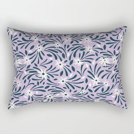 White flowers over a purple background Rectangular Pillow