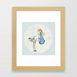 Miss Stork's Surprise: It's a Baby Framed Art Print