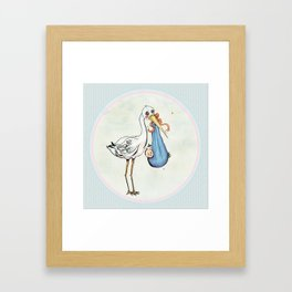 Miss Stork's Surprise: It's a Baby Framed Art Print