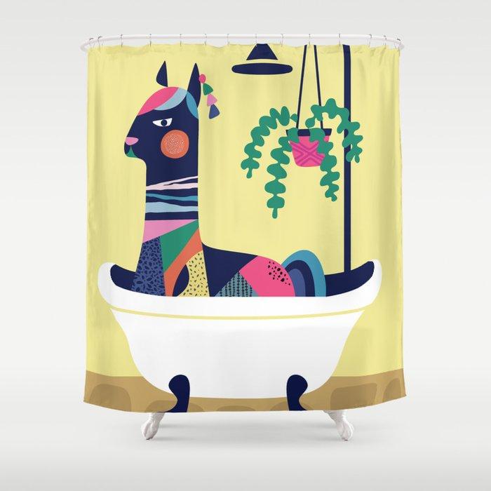 Llama in the tub Shower Curtain