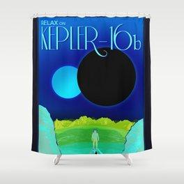 Kepler-16b - NASA Space Travel Poster (Alt) Shower Curtain