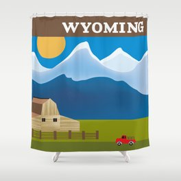 Wyoming - Skyline Illustration by Loose Petals Shower Curtain