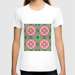 Pixelated Squares - Green and red pattern T-shirt