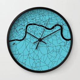 London Turquoise on Black Street Map Wall Clock
