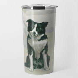 border collie - by phil art guy Travel Mug