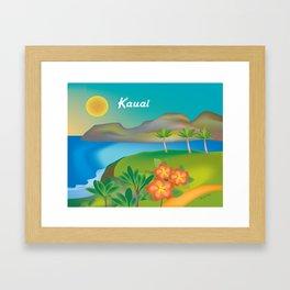 Kauai, Hawaii - Skyline Illustration by Loose Petals Framed Art Print