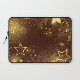 Brown background with golden stars Laptop Sleeve